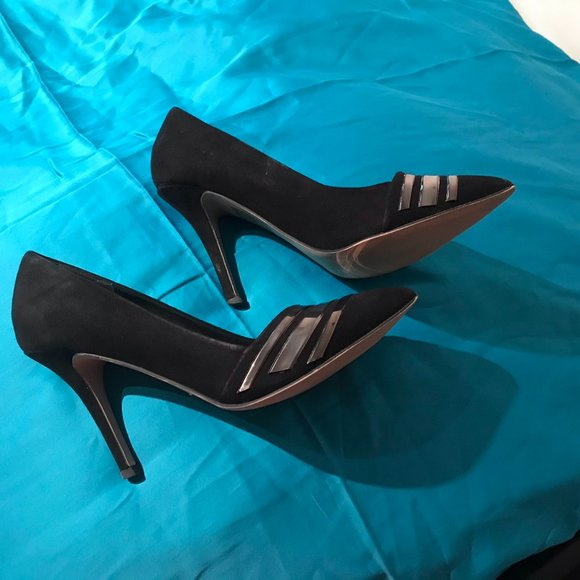 Aldo black sued leather high shoes with decoration